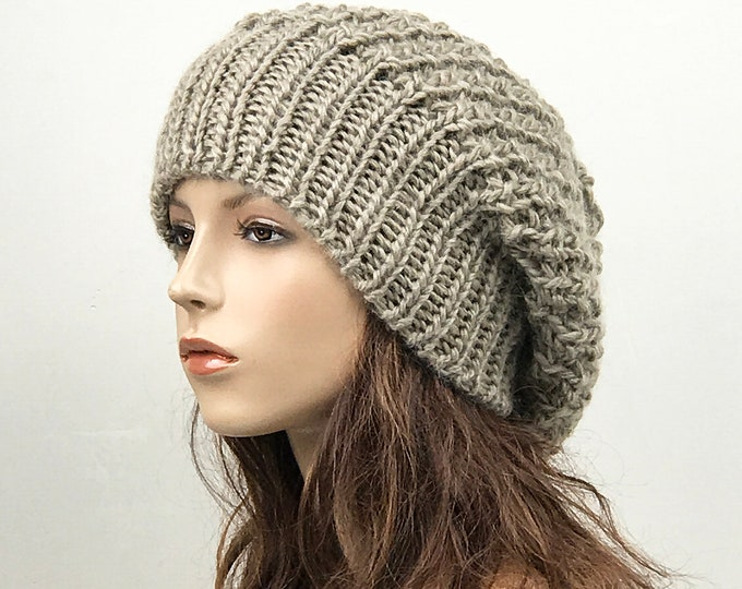 Hand knit woman hat - Oversized Chunky Wool Hat, slouchy hat almond hat, winter hat