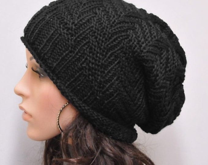 Hand knit hat woman man unisex Chunky Hat Black wool hat - ready to ship