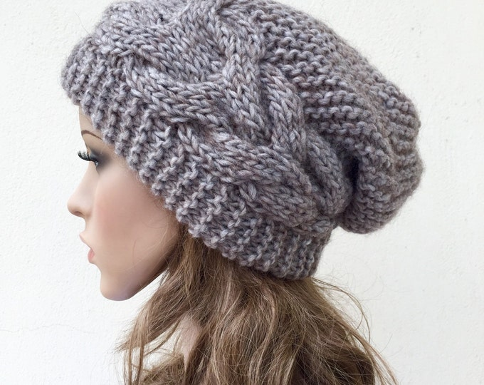 Hand knit hat Oversized Chunky Wool Hat slouchy hat camel cable hat