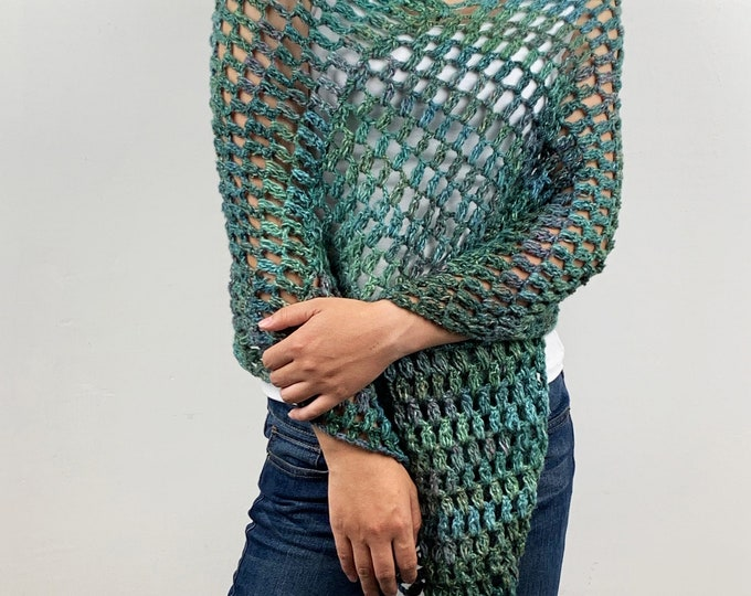 Hand knit woman sweater Little poncho knit scarf knit green shrug