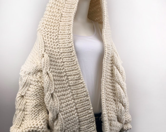 Hand knit oversize woman Hoodie sweater chunky slouchy Cream wool cable knit cardigan