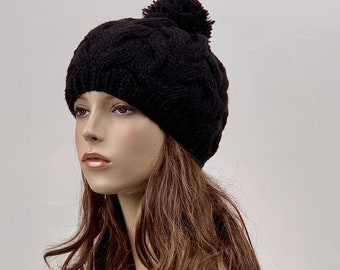 Hand Knit Hat wool  Beret Hat with Pom Pom oatmeal hat