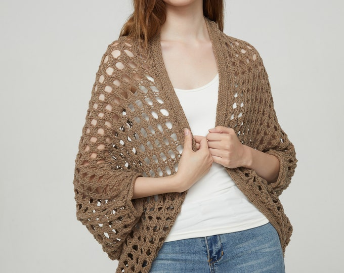 Hand Knit woman sweater Long cardigan camel sweater top open weave wool sweater