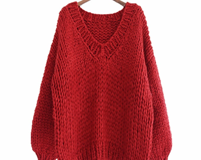 Hand knit WOOL sweater oversize woman sweater V-neck slouchy RED sweater