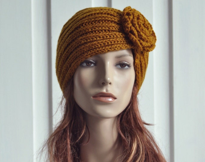 Hand Knit Hat - Wool  Beret Hat with crochet flower in Mustard yellow -ready to ship