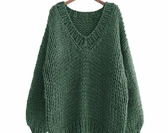 9fff6baafc Hand knit sweater cotton oversize woman sweater V-neck slouchy Evergreen  sweater