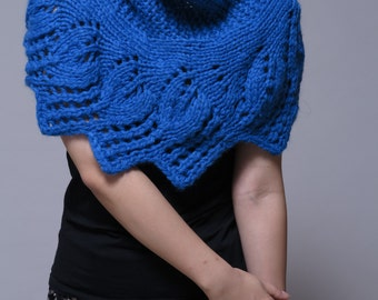 Hand knit capelet, blue poncho, weaving leaves pattern- ready to ship