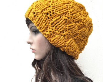 Hand Knit Hat Womens Beret Hat in Mustard Beret yellow Beanie Womens Accessories