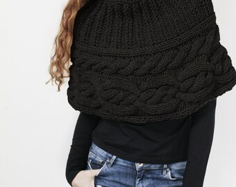 Hand knit woman poncho Black wool capelet Chunky Neck Warmer/Cowl/Tube Scraf cable pattern