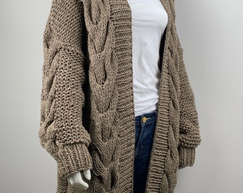 Hand knit oversize woman sweater chunky slouchy khaki eco cotton long cable knit cardigan
