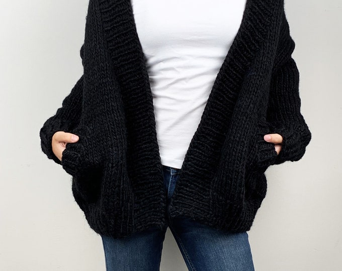 Hand knit oversize woman sweater chunky slouchy Black wool cardigan