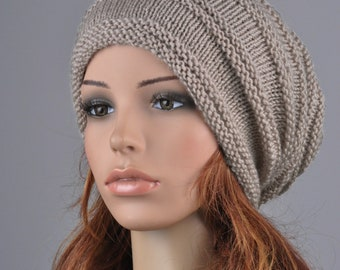 Hand Knit hat woman hat man hat wheat Chunky Wool Hat Slouchy hat