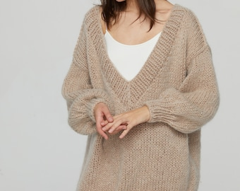 Hand knit woman sweater OVERSIZED mohair sweater top Deep V-neck pullover Almond sweater