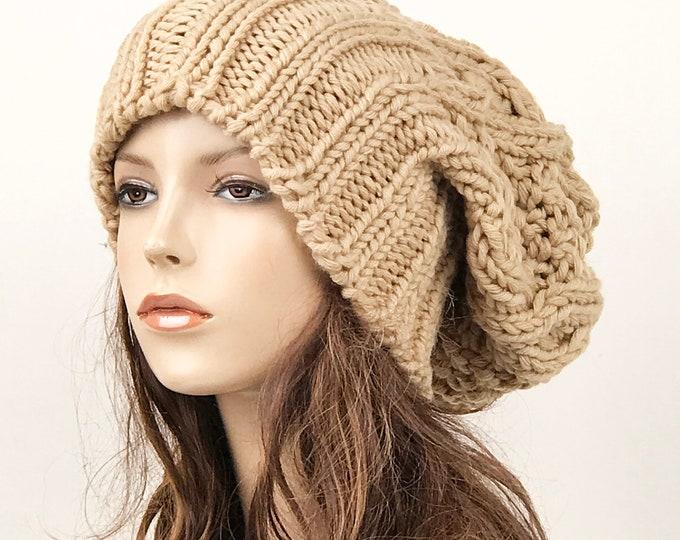 Hand knit woman man unisex hat - Oversized Chunky Wool Hat, slouchy wheat hat, winter hat