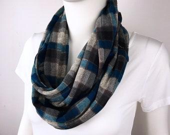 Blue Infinity tube scarf Knit jersey Infinity tube scarf  cowl scarf circle scarf