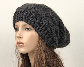 Hand knit hat Oversized Chunky Wool Hat slouchy hat charcoal hat