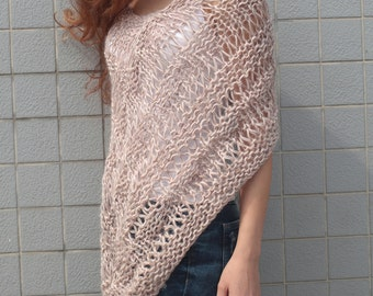 Hand knit little poncho knit scarf knit shrug Dusty Pink woman sweater-ready to ship
