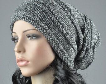 Hand knit hat - Chunky Wool Hat in Black / Grey blend yarn, slouchy hat