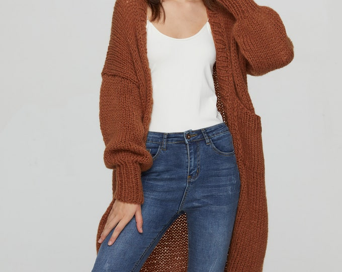 Hand knit oversize woman sweater Mohair sweater long cardigan Brown Sugar