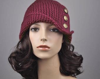 Hand knit hat woman winter hat Fold band burgundy hat wine button wool hat