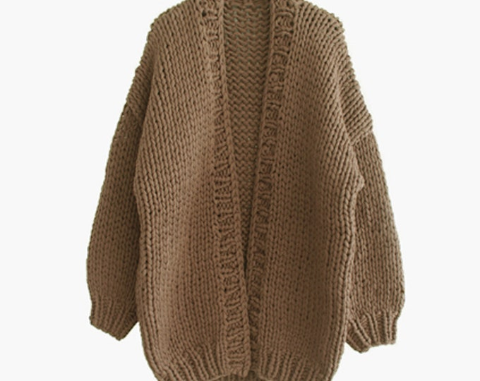 Hand knit oversize woman sweater chunky slouchy Mocha wool cardigan