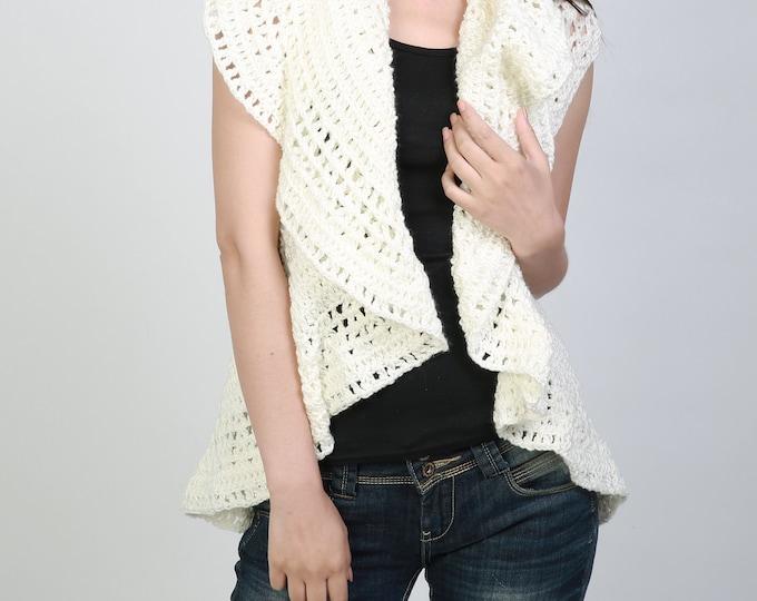 Hand crochet sweater vest Cream white sweater ruffle collar