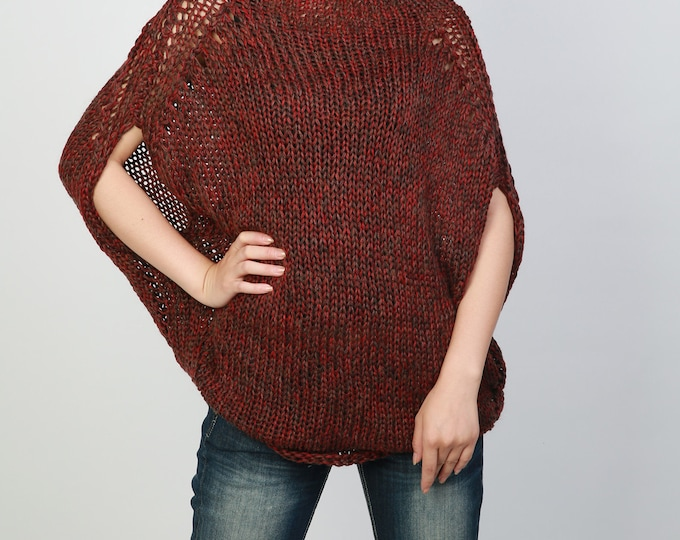 Hand knitted woman oversize drop shoulder sweater Eco Cotton sweater wine burgundy