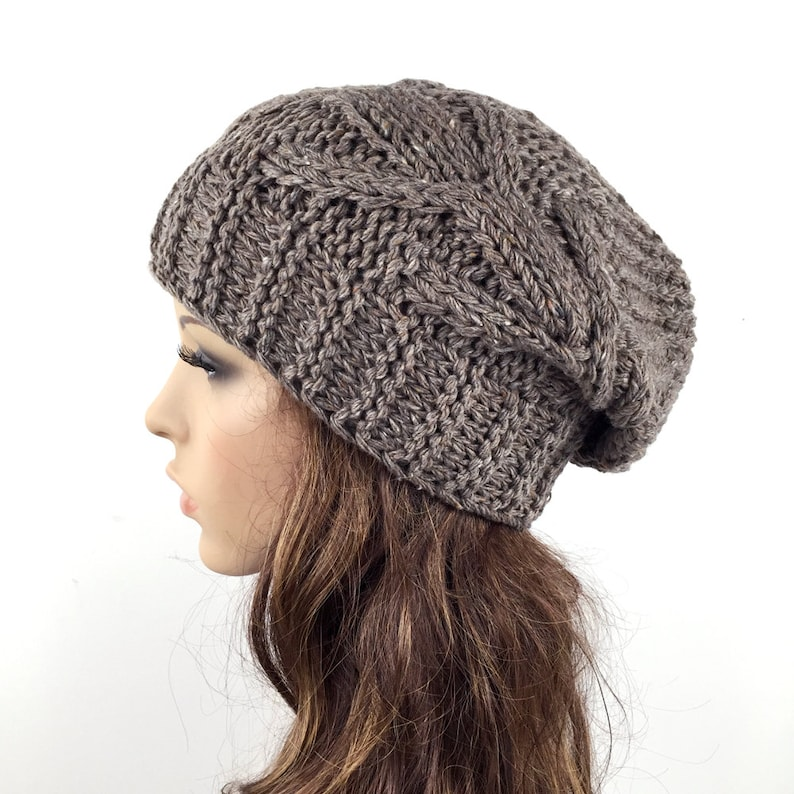 6c6b28cd4cc Hand knit hat winter hat Chunky Wool Hat slouchy hat Barley
