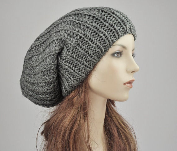 741fa968a4a Hand knit hat Oversized Chunky Wool Hat slouchy hat in Dark