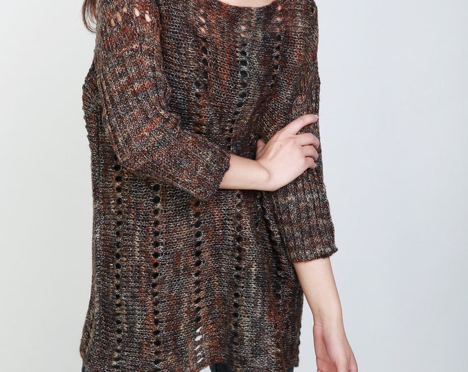 Hand knit woman oversized sweater oversized multicolor brown pullover mohair 3/4 sleeve sweater