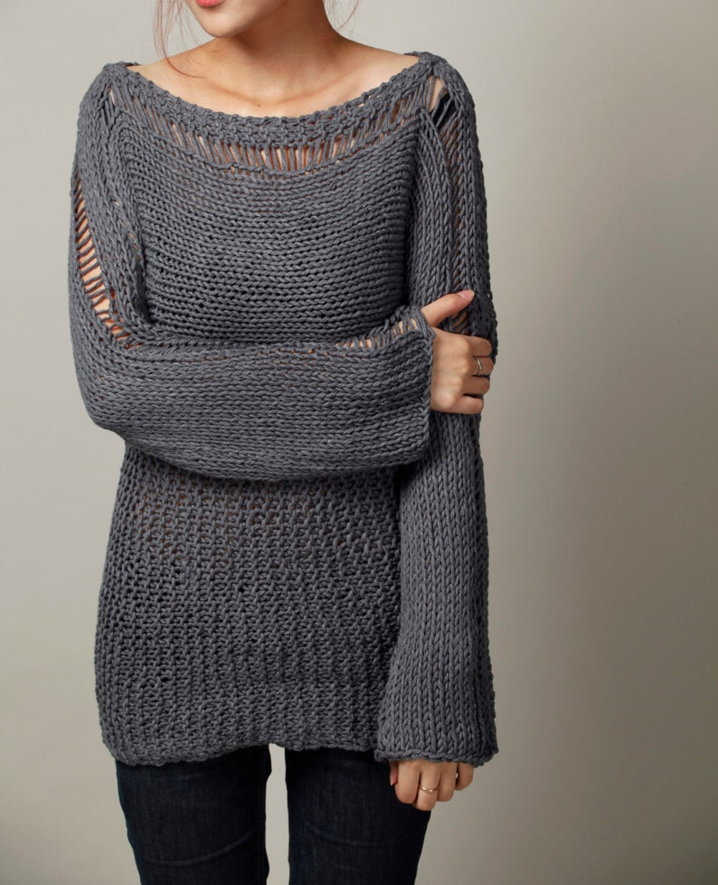 Hand Knit Woman Sweater  Eco Cotton Oversized sweater in image 0