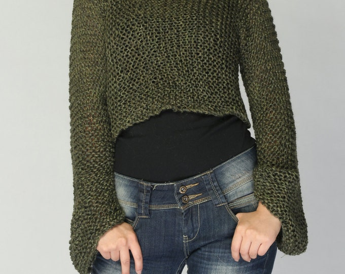 Hand knit sweater - Eco cotton sweater cover up top Forest Green - ready to ship