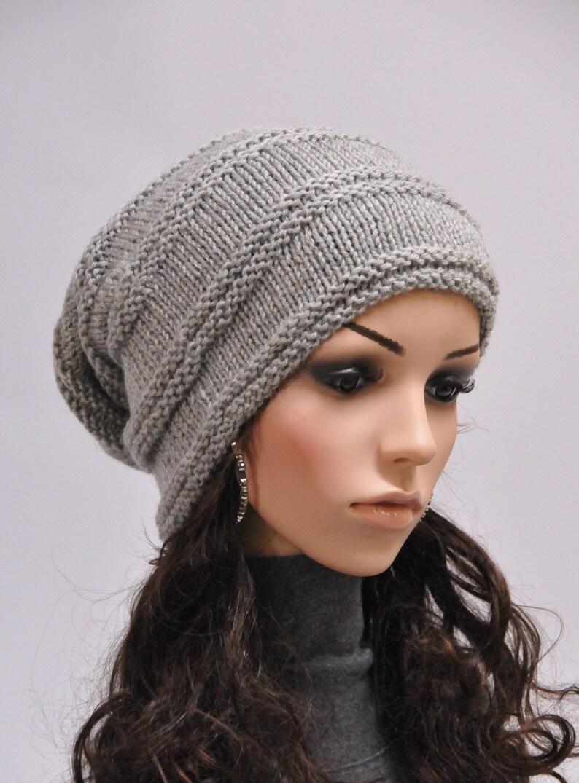 3d86f28fe2a Hand knit wool hat woman winter hat slouchy grey hat ready
