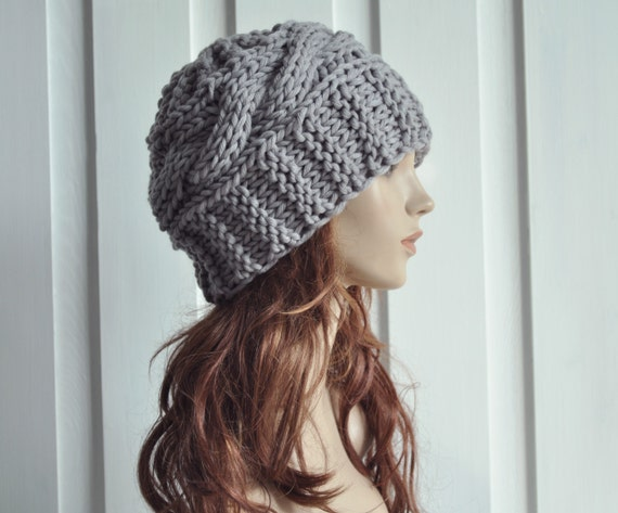 Hand Knit Hat Womens Hat Cable Beret Hat Grey Chunky hat  b3ce61d862c