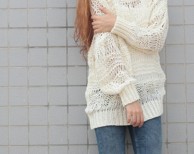 Hand knit sweater wool woman sweater long sweater White Cream loose knit pullover sweater