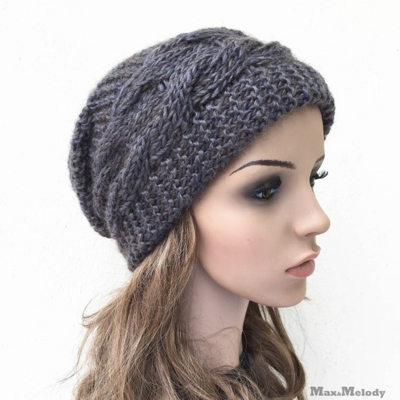 432edec78cc Hand knit hat Oversized Chunky Wool Hat slouchy hat dark Olive cable ...