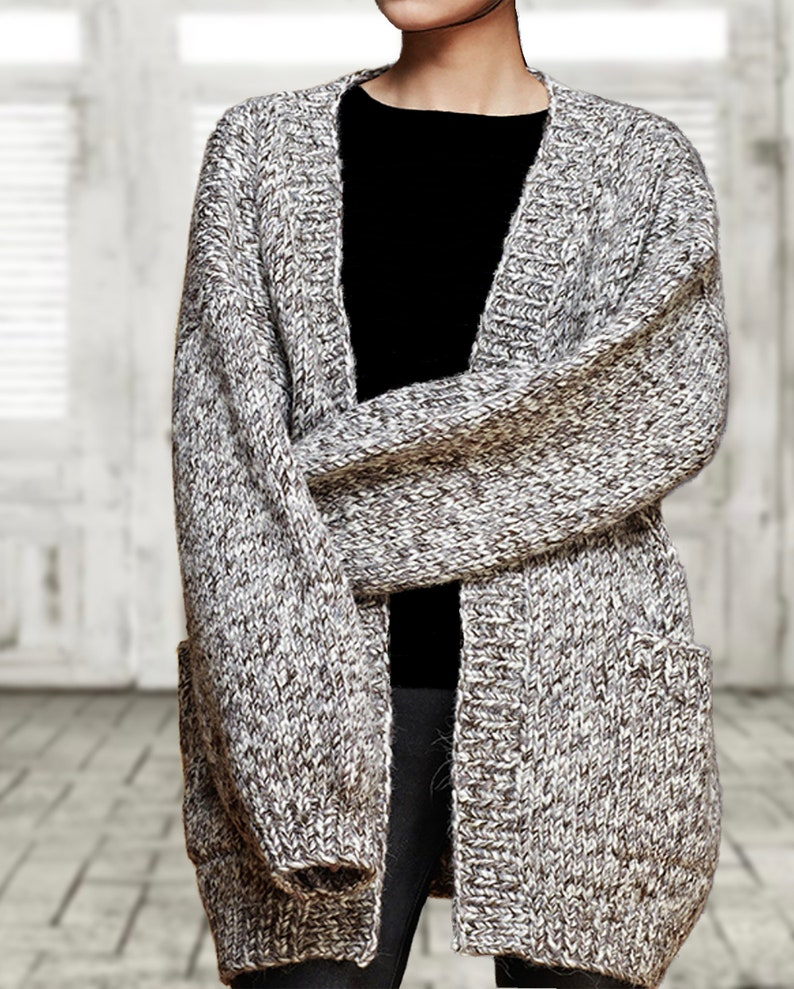 6280acdc2e3 Hand knit oversize woman sweater chunky slouchy grey cream blend marble  wool knit cardigan