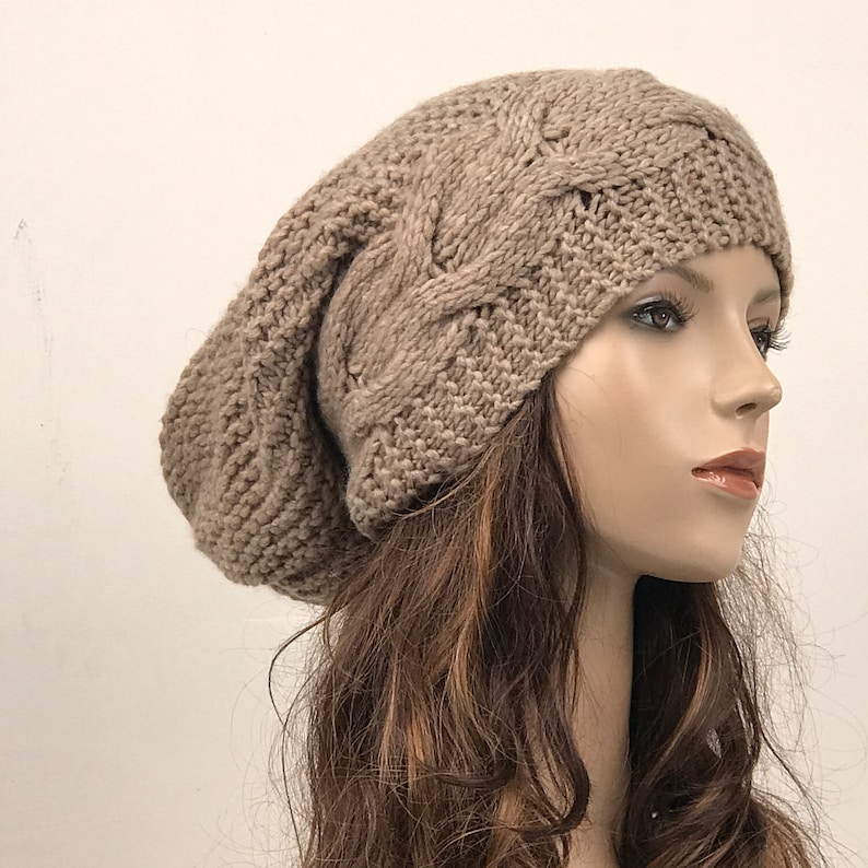2080a437818 Hand knit hat Oversized Chunky Wool Hat slouchy hat almond
