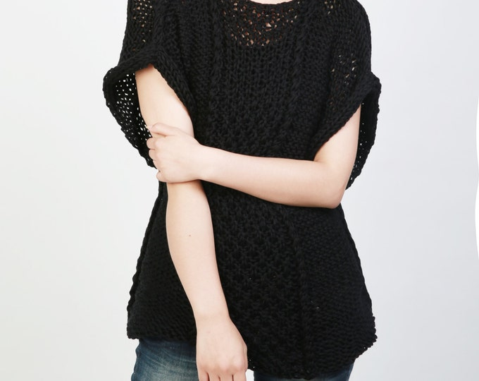 Hand knit sweater Eco cotton Tunic woman sweater rolled edge Kimono sleeve black sweater