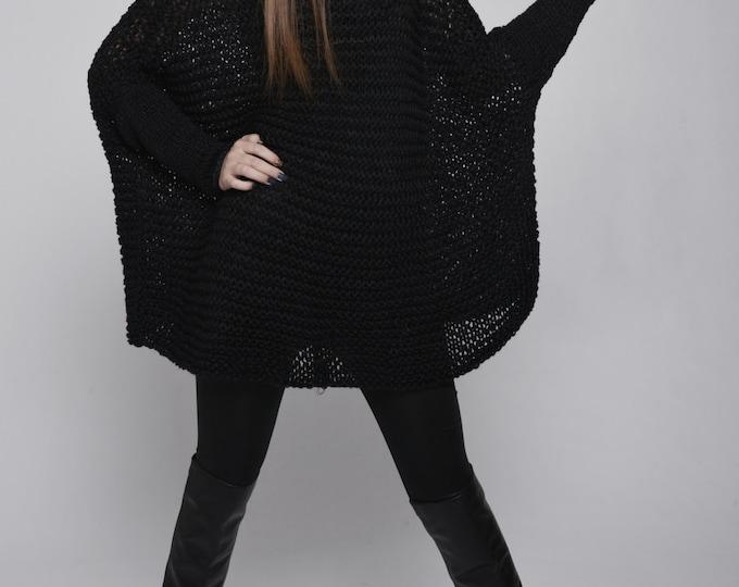 OVERSIZED Woman sweater/ Knit sweater in Black