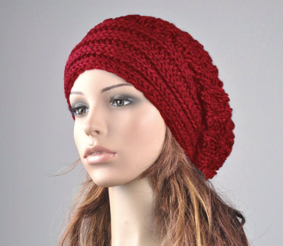 Hand knit hat winter woman hat Red Chunky Hat with Band slouchy hat wool hat  oversized hat-ready to ship 3a781219623b