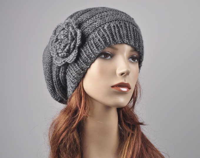 Hand Knit woman winter wool Hat - Oversized Beret Hat with crochet flower in Charcoal/ dark grey-ready to ship