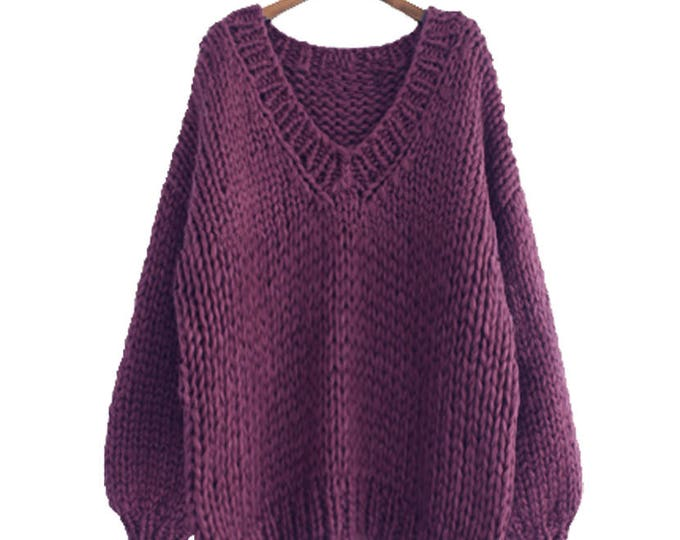 Hand knit oversize woman sweater V-neck slouchy wool plum sweater