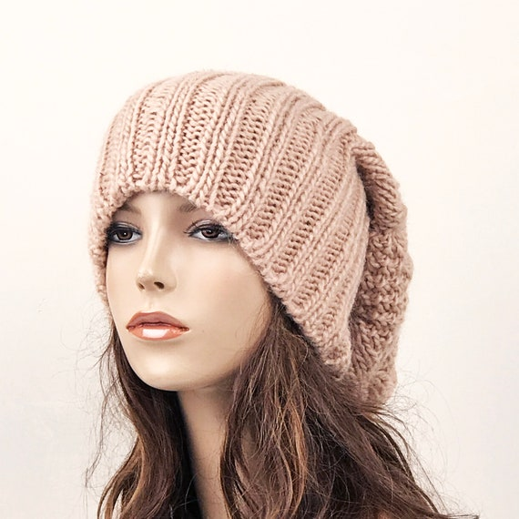 Hand knit woman man unisex hat Oversized Chunky Wool Hat  32c112701a9
