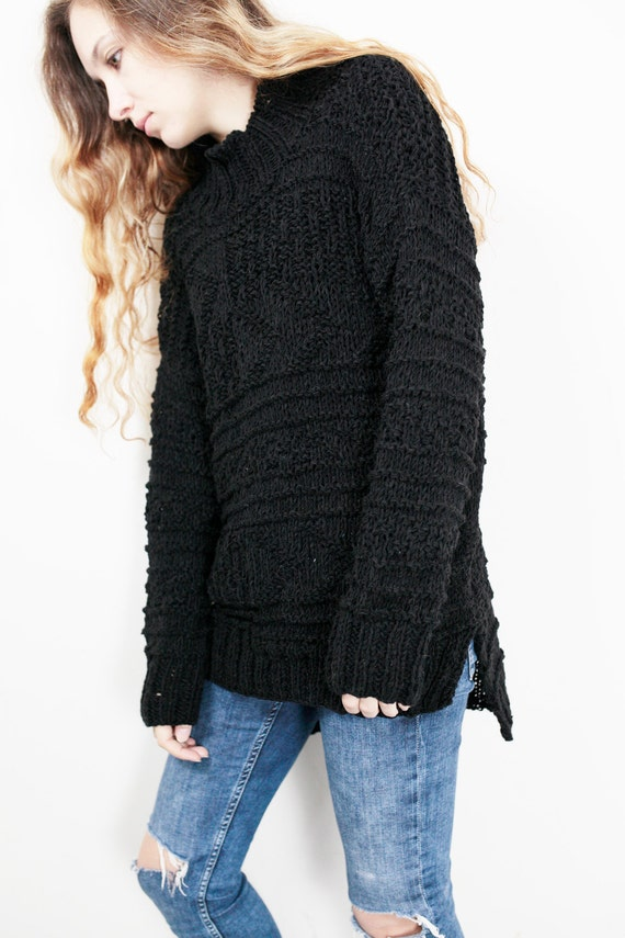 sweater woman sweater knit long wool Hand Black sweater oversized pullover sweater 4HfqExU