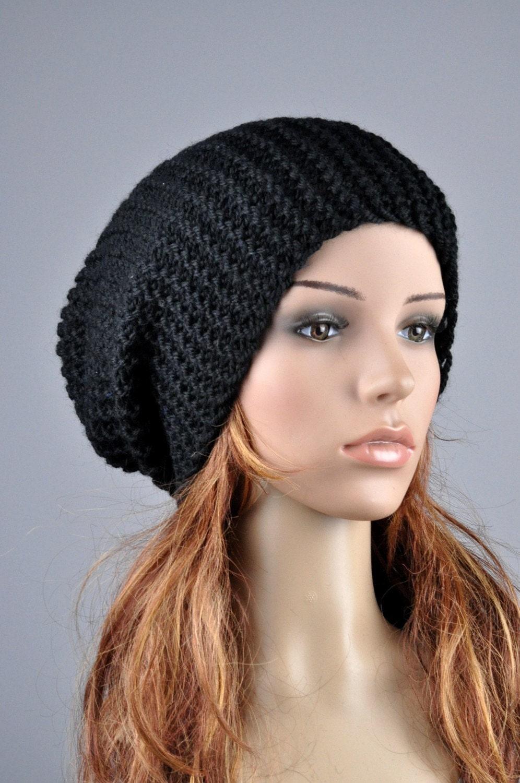 2fe488e1520 Hand Knit Hat woman man unisex hat chunky hat wool Black Slouchy Hat. 1