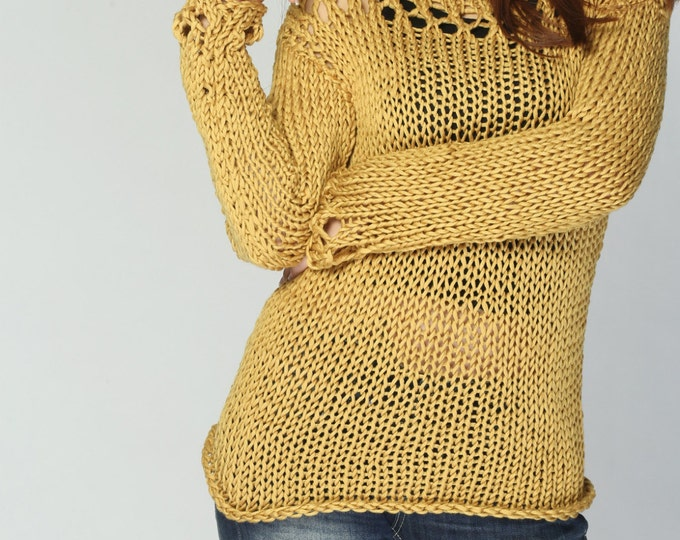 Hand knit sweater- Eco cotton sweater Mustard Yellow