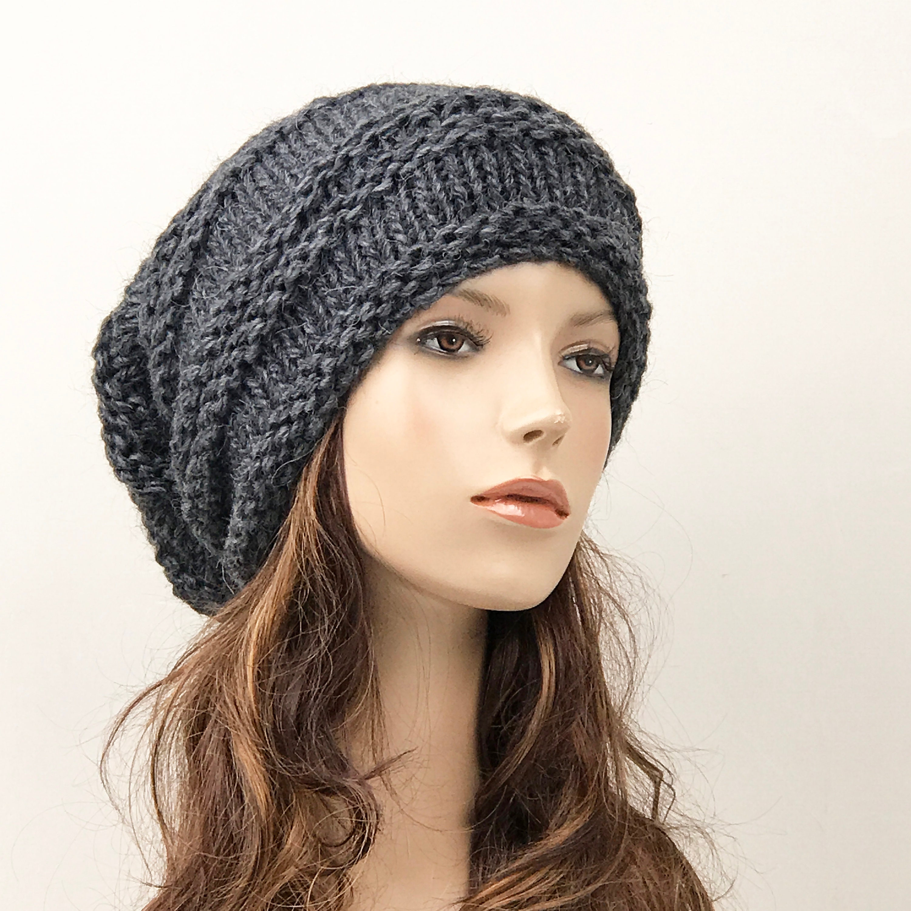 9980accd718 Hand knit hat woman unisex wool hat Oversized charcoal Chunky Slouchy hat -  ready to ship. 1