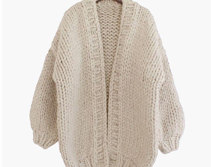 Hand knit oversize woman sweater chunky slouchy cream cardigan