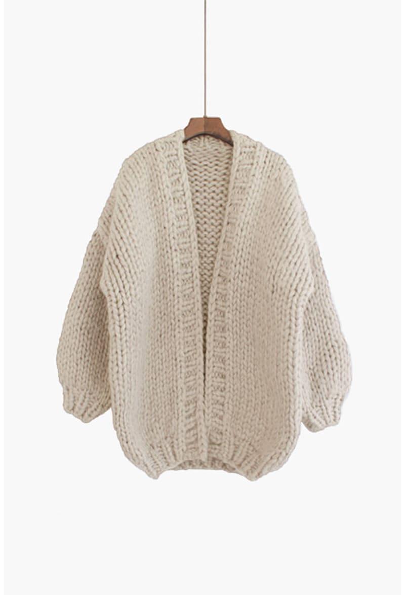 Hand knit oversize woman sweater chunky slouchy cream cardigan  f42b6d441